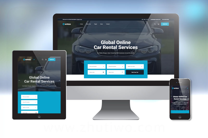 二手车、汽车租赁销售网站html模版下载