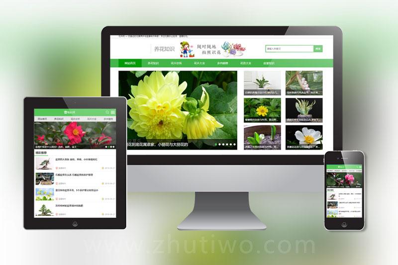 花卉养殖新闻资讯类织梦模板 绿色花草植物网站模板下载