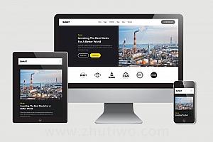 工业企业网站响应式模板 工业网站html主题风格模版