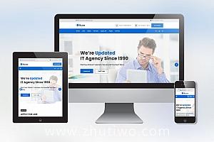 蓝色大气IT类招聘网站模板 响应式H5招聘站模版