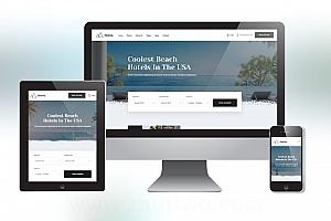 休闲旅游度假酒店网站模板 响应式H5酒店网站模板