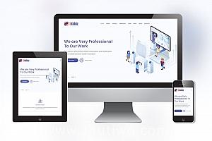 响应式多用途业务网站模板 淡紫色业务站模版